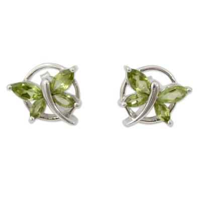 Sterling Silver Butterfly Earrings with Peridot Birthstone