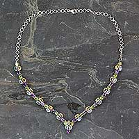 Multigem waterfall necklace, 'Color Cascade' - 21.5-Carat Silver Necklace with Four Kinds of Faceted Gems