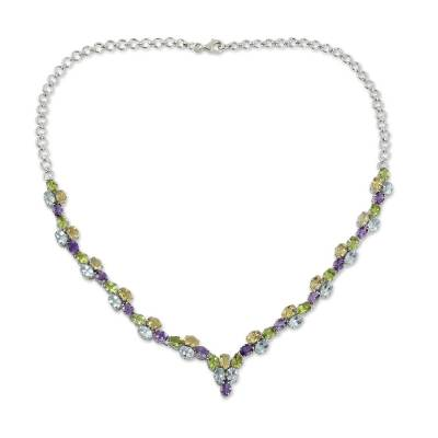 21.5-Carat Silver Necklace with Four Kinds of Faceted Gems