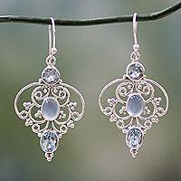 Blue topaz dangle earrings, 'Blue Arabesque'