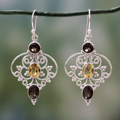 Smoky quartz and citrine dangle earrings, Dusk Arabesque