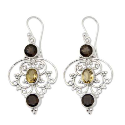 Indian Sterling Silver Earrings with Smokey Quartz & Citrine