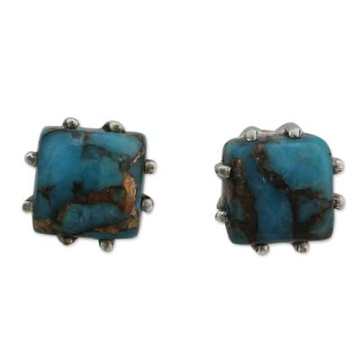 Sterling Silver Stud Earrings with Composite Turquoise