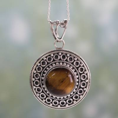 Tiger's eye pendant necklace, 'Power' - Sterling Silver Necklace with Tiger's Eye Pendant
