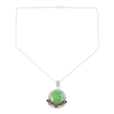 Indian Silver Necklace with Green Composite Turquoise