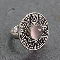 Rose quartz cocktail ring, 'Tribal Fling' - Indian Sterling Silver Cocktail Ring with Rose Quartz