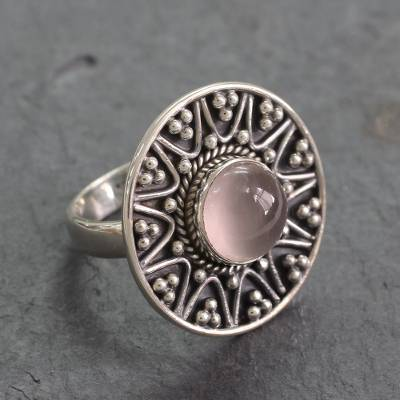 Indian Sterling Silver Cocktail Ring with Rose Quartz