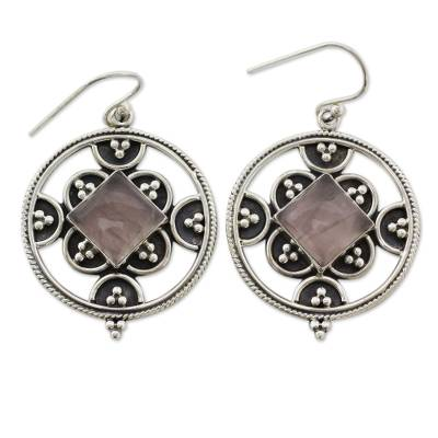 Sterling Silver and Rose Quartz Hook Earrings from India