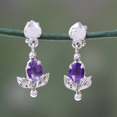 Amethyst flower earrings, 'Lavender Bloom' - Amethyst and Sterling Silver Earrings Floral Jewelry