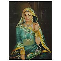 'Jodhaa II' - Romantic Oil on Canvas Portrait of Princess Jodhaa