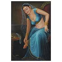 'Adornment' - Mughal Style Oil Painting of a Woman in Blue