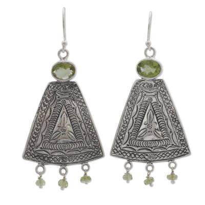 Handcrafted India Traditional Sterling Earrings with Peridot