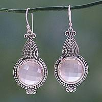 Rose quartz dangle earrings, 'Glow' - Modern Artisan Crafted Rose Quartz Sterling Silver Earrings