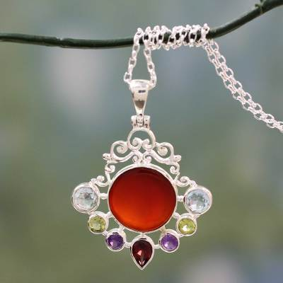 Multi gemstone pendant necklace, 'Beautiful Sun' - Multi Gemstone Pendant on Sterling Silver Necklace