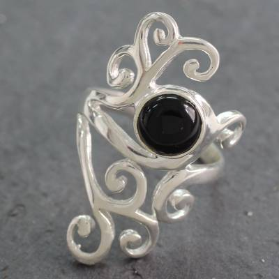 Onyx cocktail ring, 'Black Jasmine' - Sterling Silver Cocktail Ring with Black Onyx from India