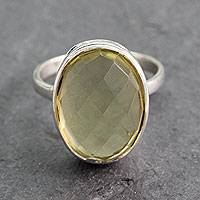 Quartz cocktail ring, 'Lemon Light' - Fair Trade Lemon Quartz Sterling Silver Cocktail Ring