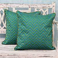 Embroidered cushion covers, 'Tribal Teal' (pair) - Green and Teal Machine Embroidered Geometric Cushion Covers