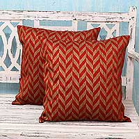 Block print cushion covers, 'Red Chevrons' (pair) - India Red and Gold Block Print Cushion Covers (Pair)