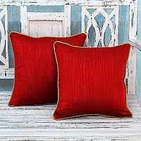 Cushion covers, 'Elegant Rouge' (pair) - Red Cushion Covers with Golden Brown Edging (Pair)