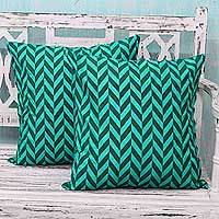 Block print cushion covers,