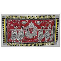 Madhubani painting, 'Bridal Palanquin' - Hindu Wedding Madhubani Painting on Handmade Paper