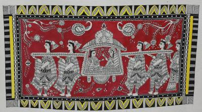 Hindu Wedding Madhubani Painting on Handmade Paper