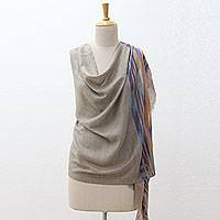 Wool and silk shawl, 'Iridescent Land' - Light Brown Wool and Silk Shawl Wrap from India
