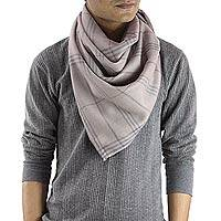Men's wool and silk scarf, 'Taupe Srinagar' - Men's Wool and Silk Taupe Checkered Scarf from India