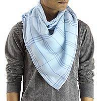 Men's wool and silk scarf, 'Azure Srinagar' - Men's Wool and Silk Light Blue Checkered Scarf from India