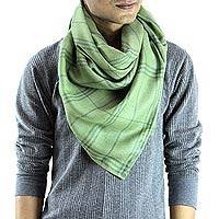 Men's wool and silk scarf, 'Verdant Srinagar' - Green Scarf for Men Woven of Wool and Silk in India