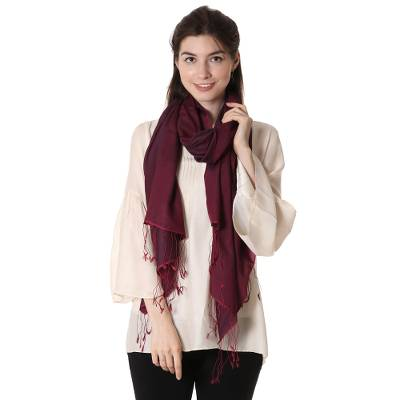 Silk and wool blend shawl, 'Burgundy Magic' - Hand Woven Silk and Wool Shawl Wrap from India