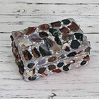 Agate decorative box, 'Gem Delight' - Agates on Decorative Wood Box Crafted by Hand in India