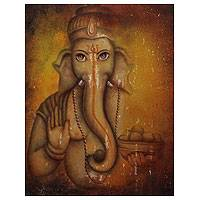 'Bestower of Success' - Hindu Portrait Antique-Style Painting of Lord Ganesha