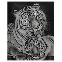 'Mother and Child II' (2014) - Tiger Mom and Cub Realistic Charcoal Painting from India
