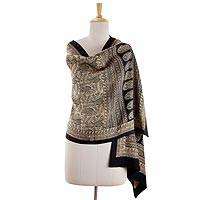 100% silk Bagh shawl, 'Wild Paisley Forest' - Hand Block Printed Black on Beige 100% Silk Shawl Wrap