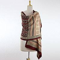 100% silk Bagh shawl, 'Paisley Legacy' - Fair Trade Silk Shawl Block Printed Wrap from India
