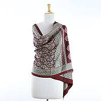 100% silk Bagh shawl, 'Crimson Fantasy' - Red on Beige Block Printed Shawl Wrap from India
