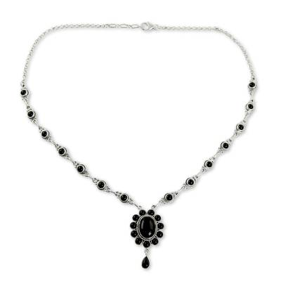 Floral Sterling Silver and Onyx Hand Crafted Y Necklace