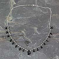 Onyx waterfall necklace,