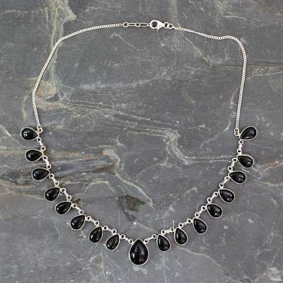Onyx waterfall necklace, 'Midnight Raindrops' - Indian Onyx and Sterling Silver Hand Crafted Necklace