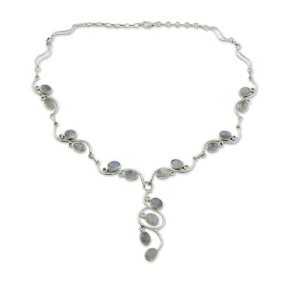 Handmade Sterling Silver Y Necklace with Rainbow Moonstones