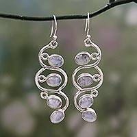 Rainbow moonstone dangle earrings, 'Lotus Buds' - Rainbow Moonstone Dangle Earrings Sterling Silver Jewelry