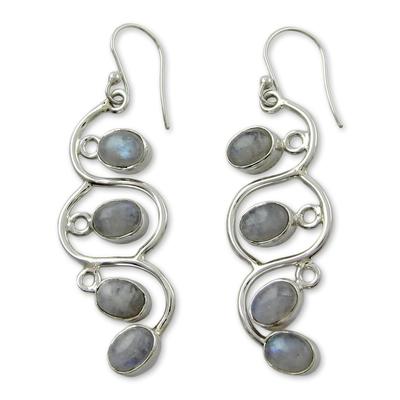Rainbow Moonstone Dangle Earrings Sterling Silver Jewelry