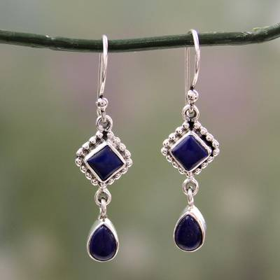 Lapis lazuli dangle earrings, 'Queen of Diamonds' - Lapis Lazuli and Sterling Silver Earrings Handmade in India