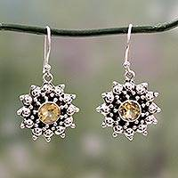 Citrine dangle earrings, 'Star'