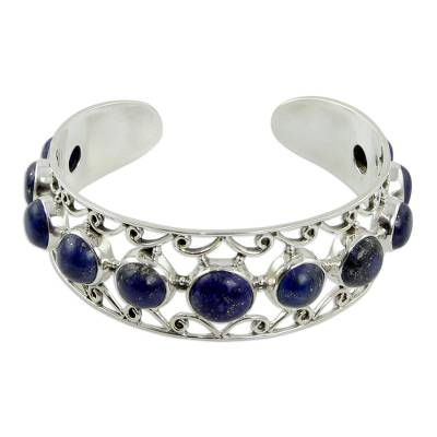 Lapis Lazuli and Sterling Silver Cuff Bracelet from India