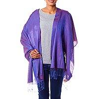 Silk and cotton shawl, 'Lapis Wine' - Silk and Wool Blend Lightweight Purple Shawl from India