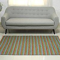 Wool runner, 'Morning Joy' (4x6) - Hand Woven Modern Striped Dhurrie Rug from India (4 x 6)