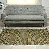 Wool runner, 'Verdant Joy' (4x6) - Modern Indian Hand Woven Striped Dhurrie Rug (4 x 6)