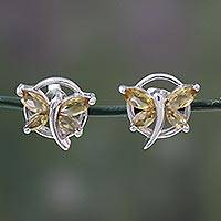 Citrine button earrings, 'Butterfly Gift' - Citrine Birthstone Sterling Silver Butterfly Earrings